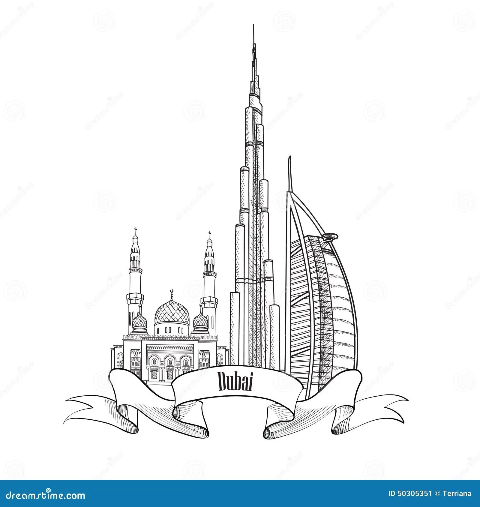 Travel Uae Architectural Sign Dubai City Label Stock