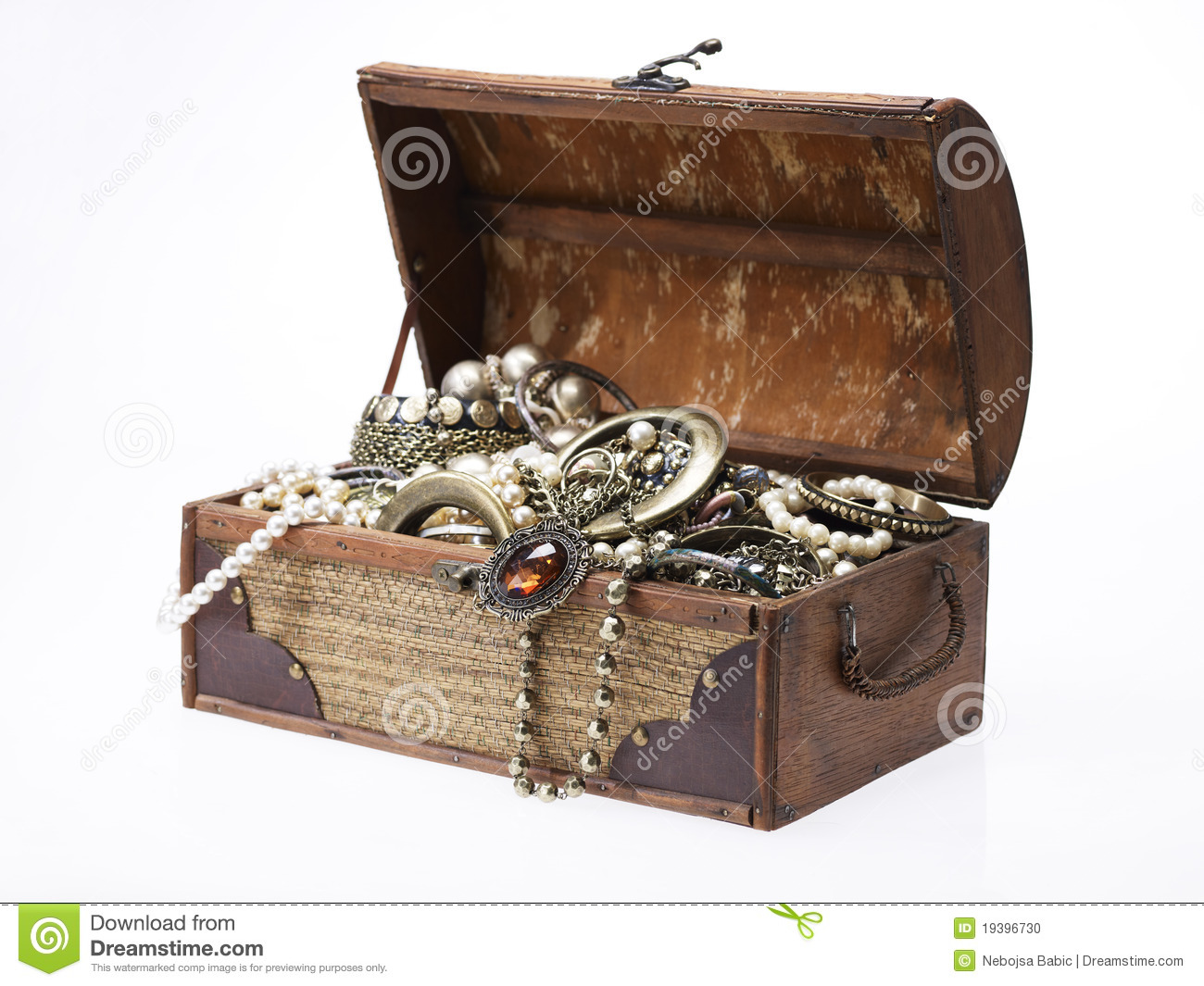 Treasure Chest With Lots Of Jewelry Stock Photo Image Of