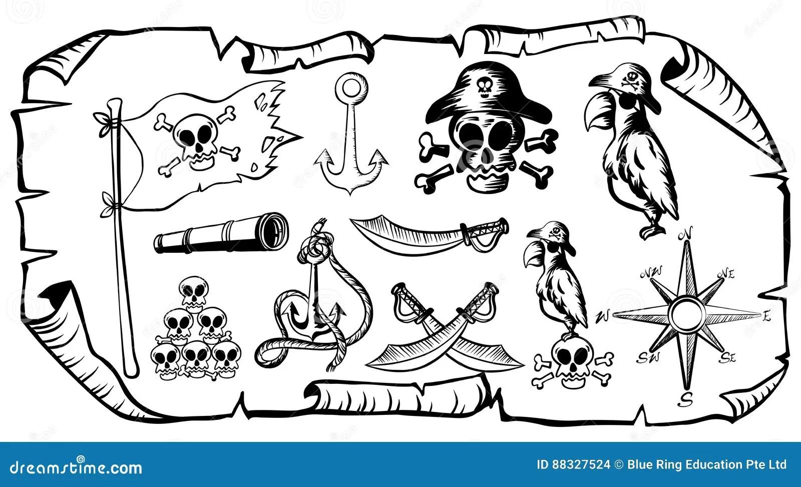 Treasure Map With Pirate Symbols Stock Vector