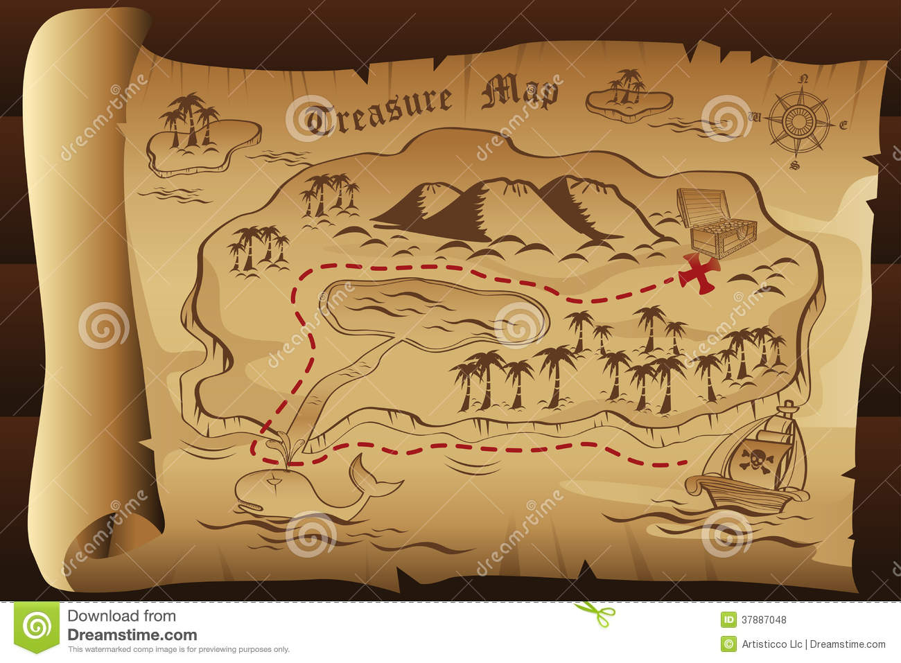Treasure Map Stock Vector Illustration Of Scroll Chest