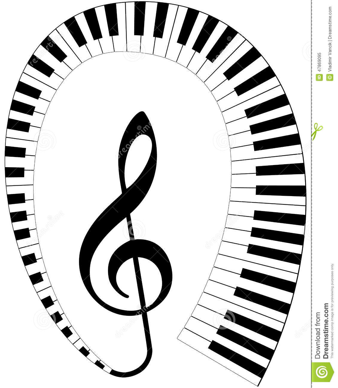Treble Clef With Keyboard Stock Vector Illustration Of