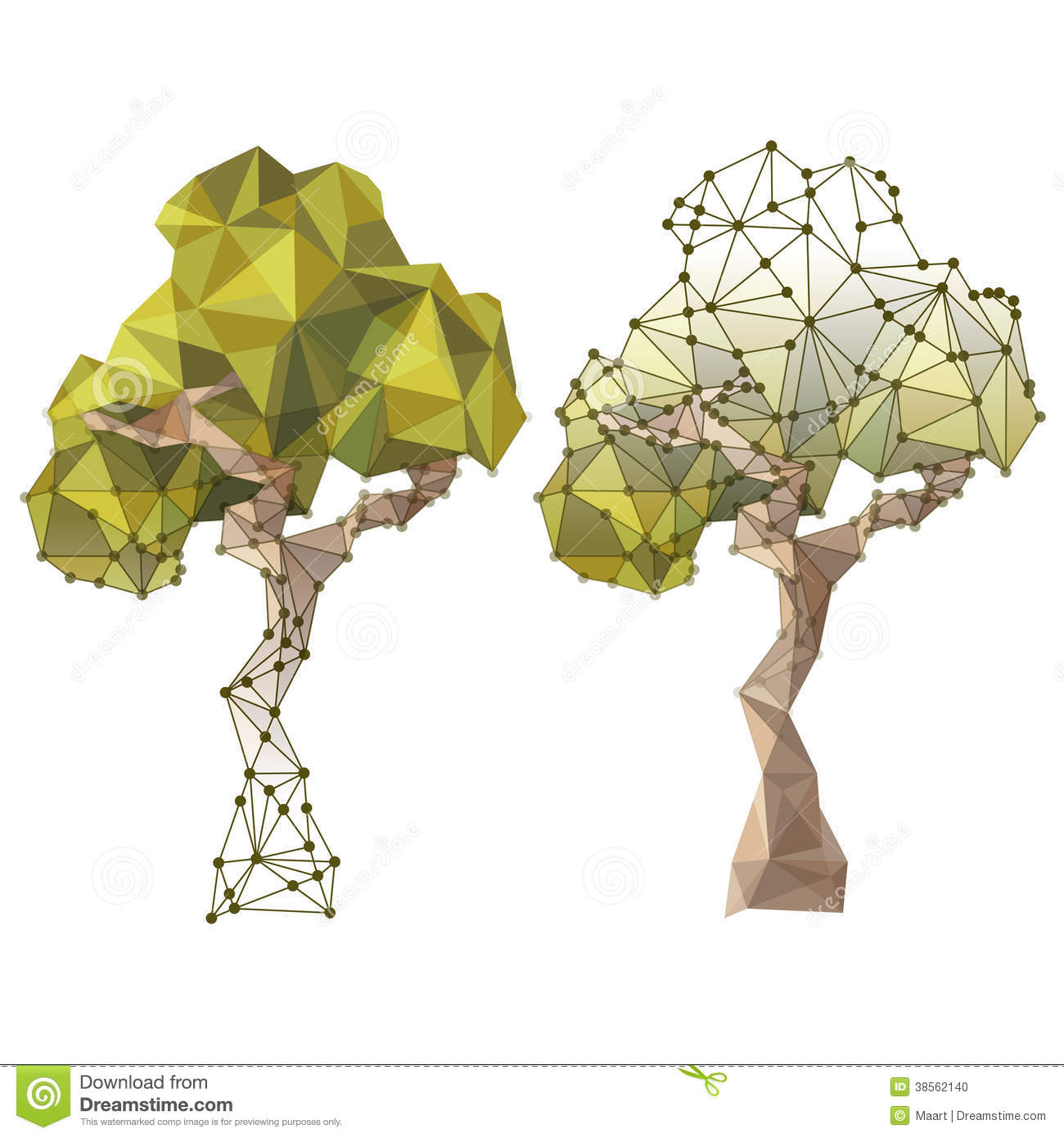 Tree In Low Poly Style Stock Photo Image 38562140