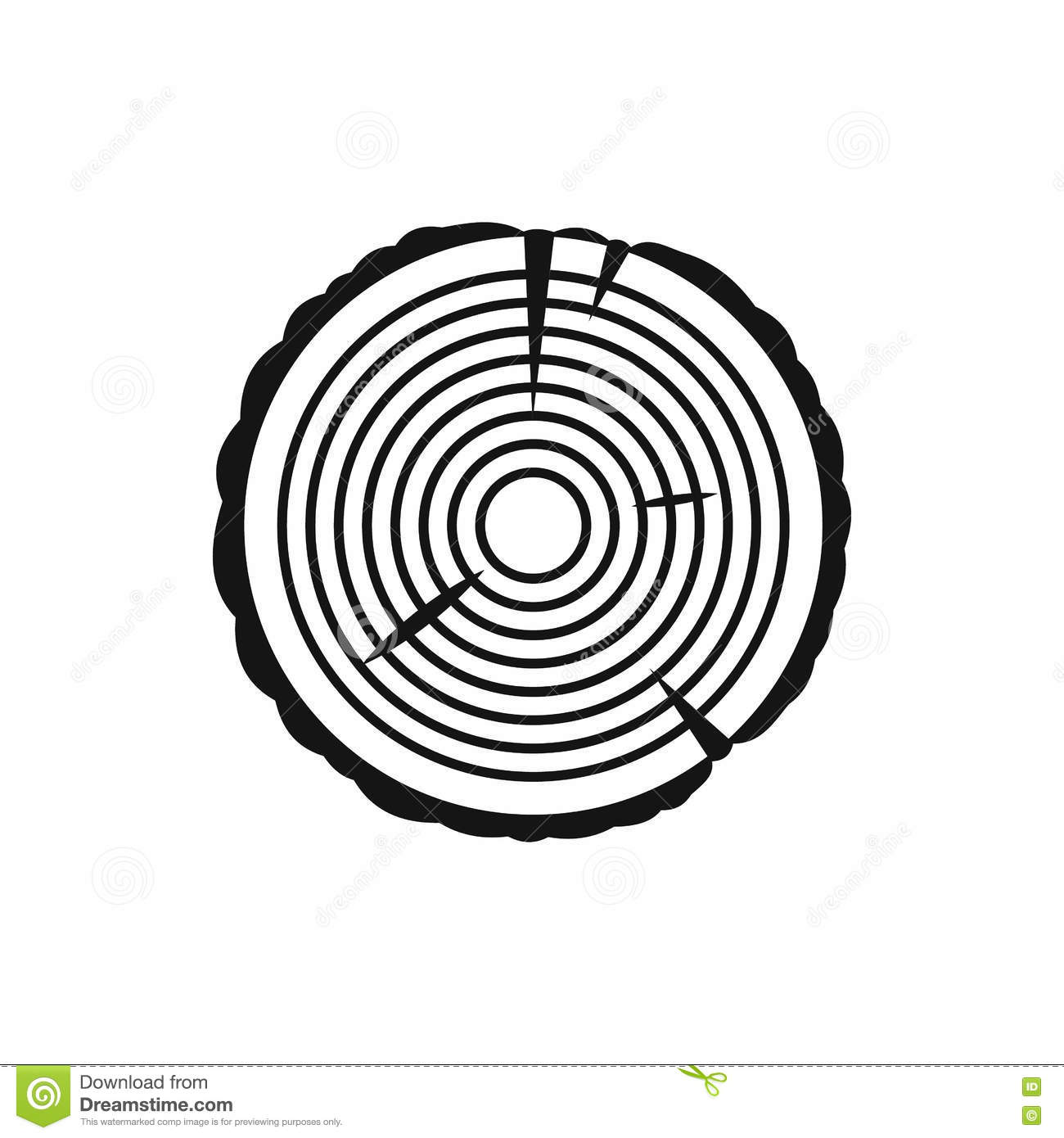 Tree Ring Icon In Simple Style Stock Vector
