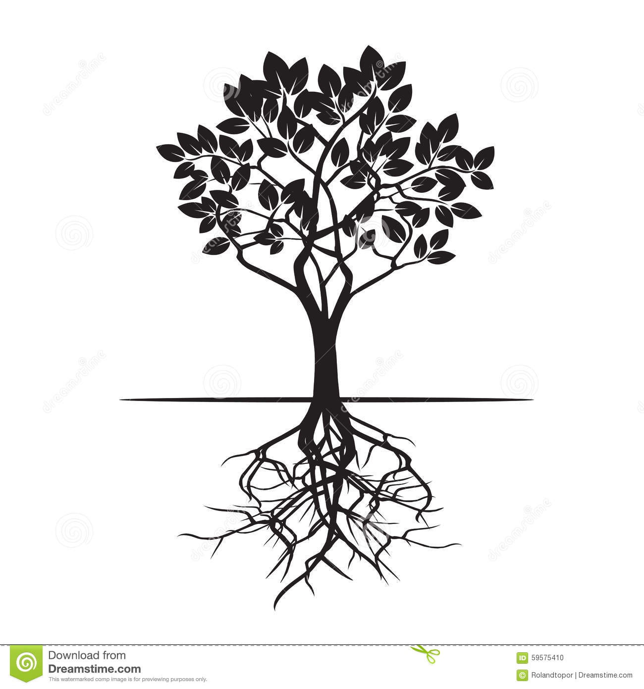 Tree And Roots Vector Illustration Stock Illustration