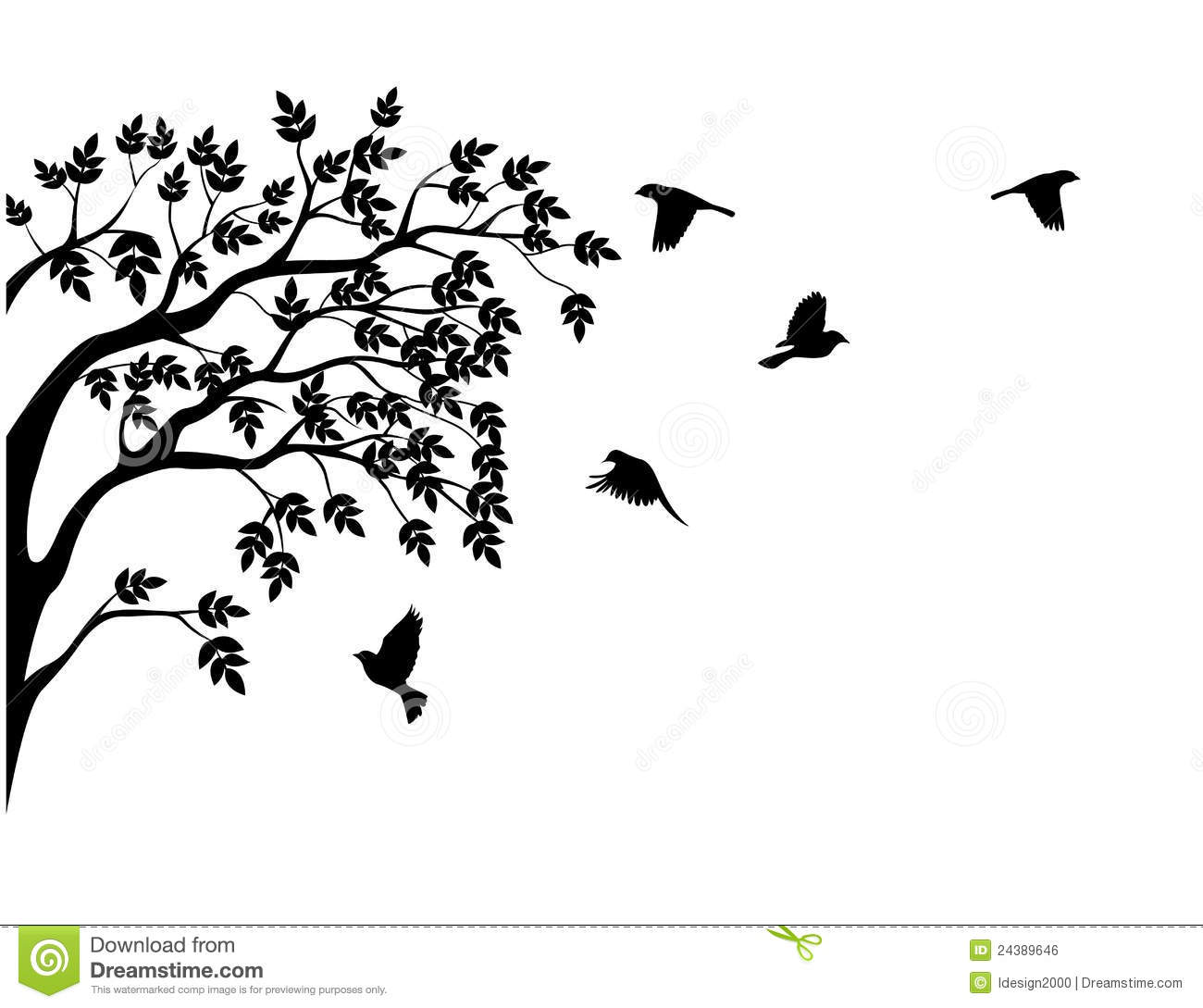 Tree Silhouette With Bird Flying Stock Illustration