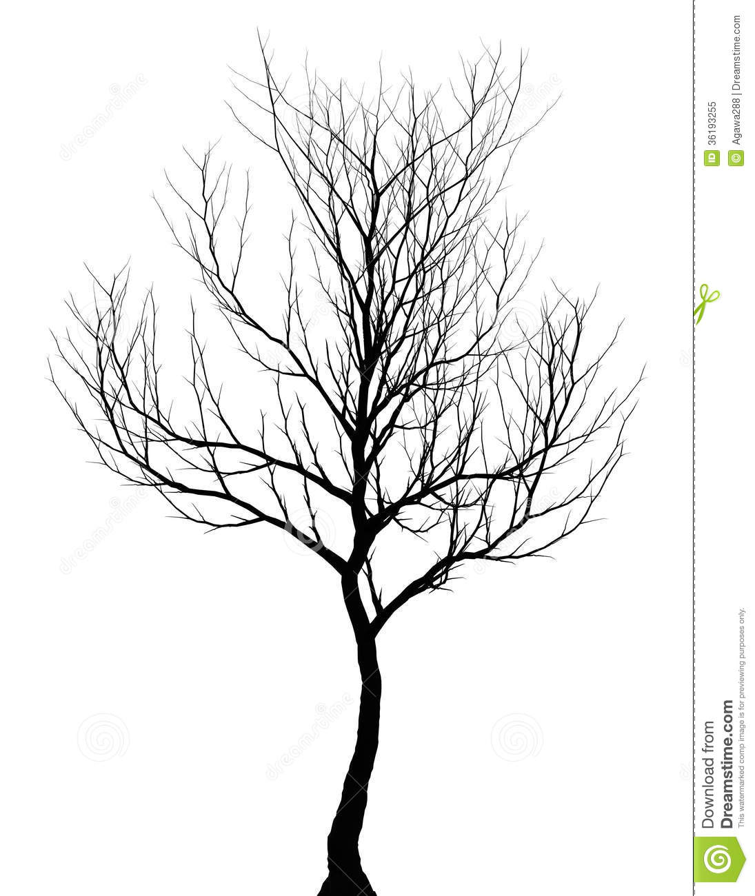 Tree Simple Dark Silhouette Isolated Stock Illustration