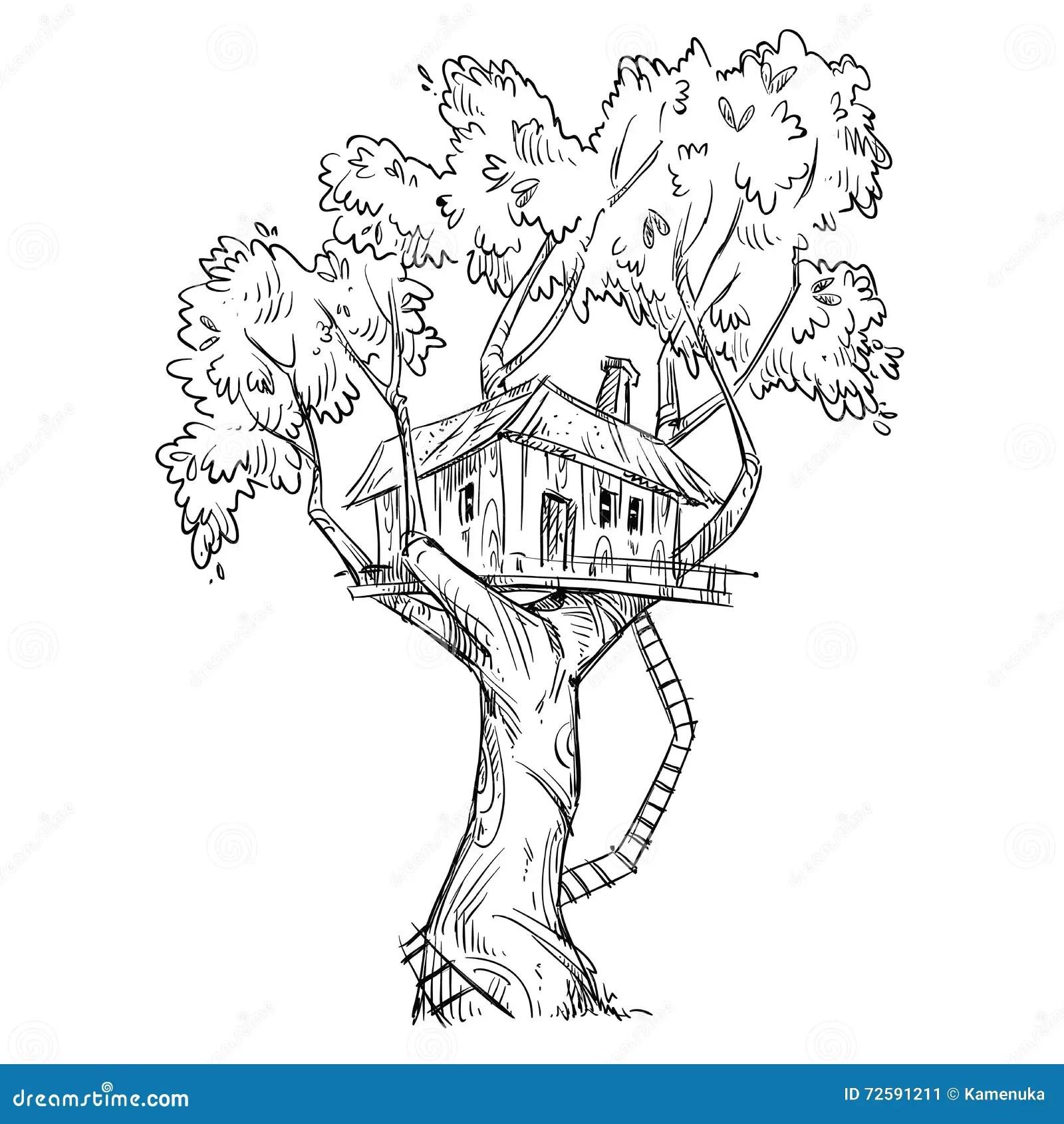Treehouse Hand Drawn Vector Illustration Stock Vector
