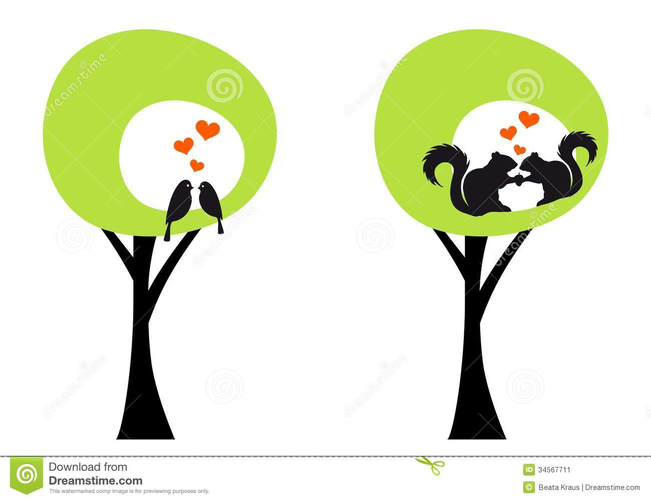 Trees With Birds And Squirrels Vector Stock Image Image