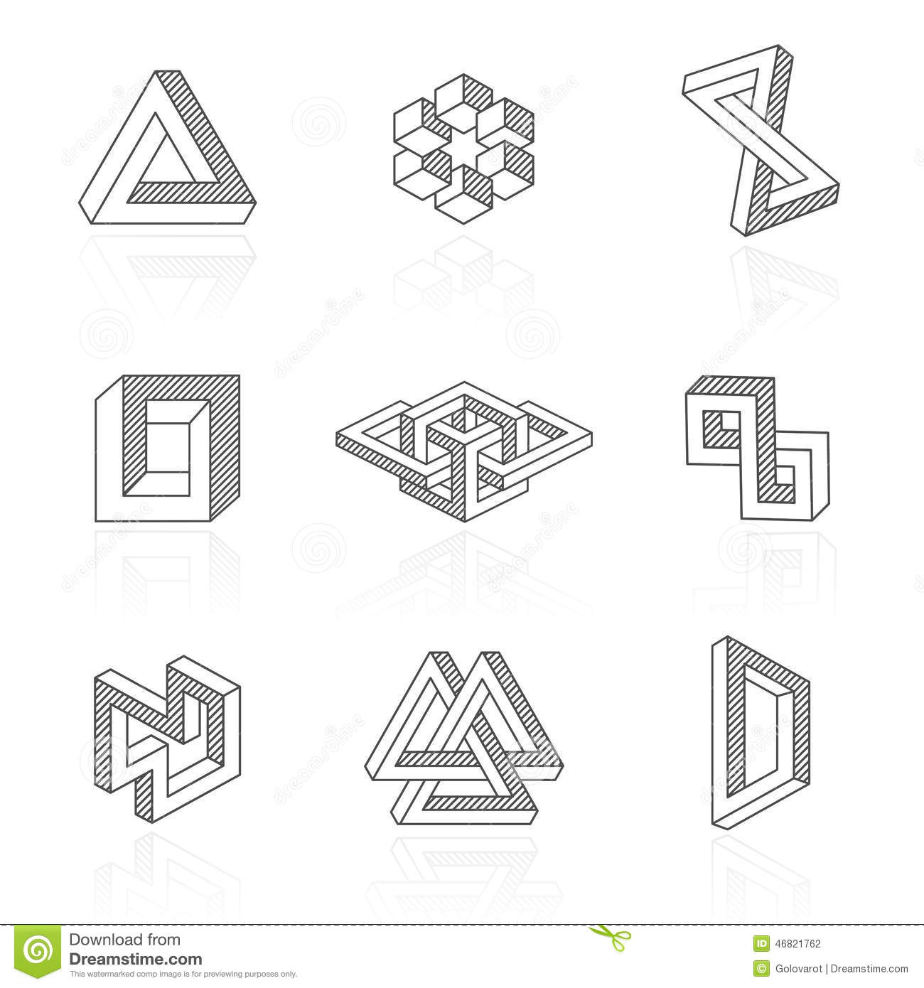 Trendy Optical Illusion Shapes On White Vector Stock