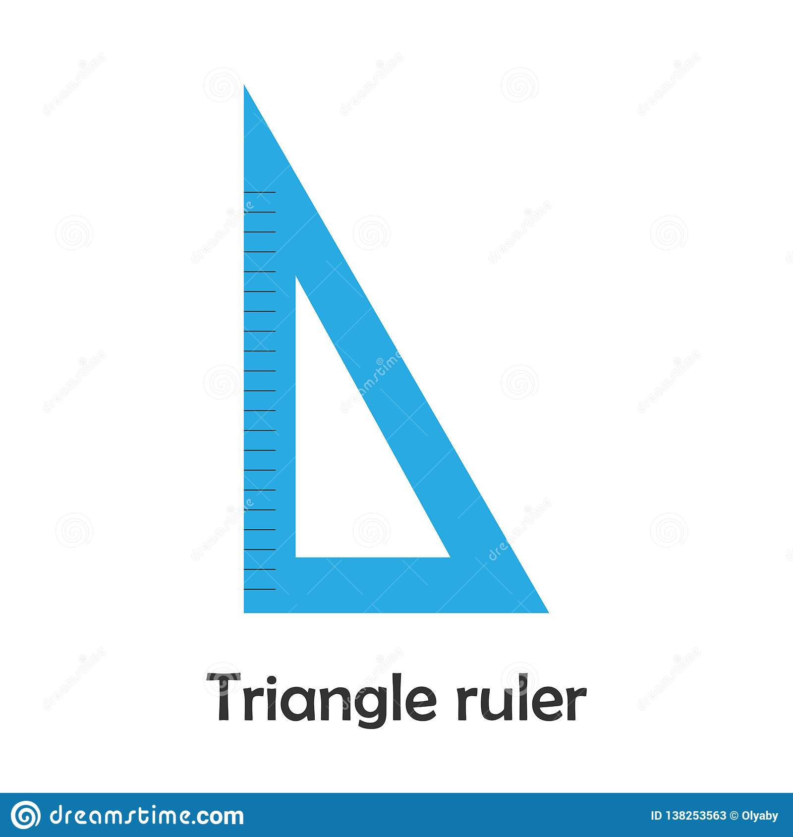 Triangle Ruler In Cartoon Style School Card For Kid