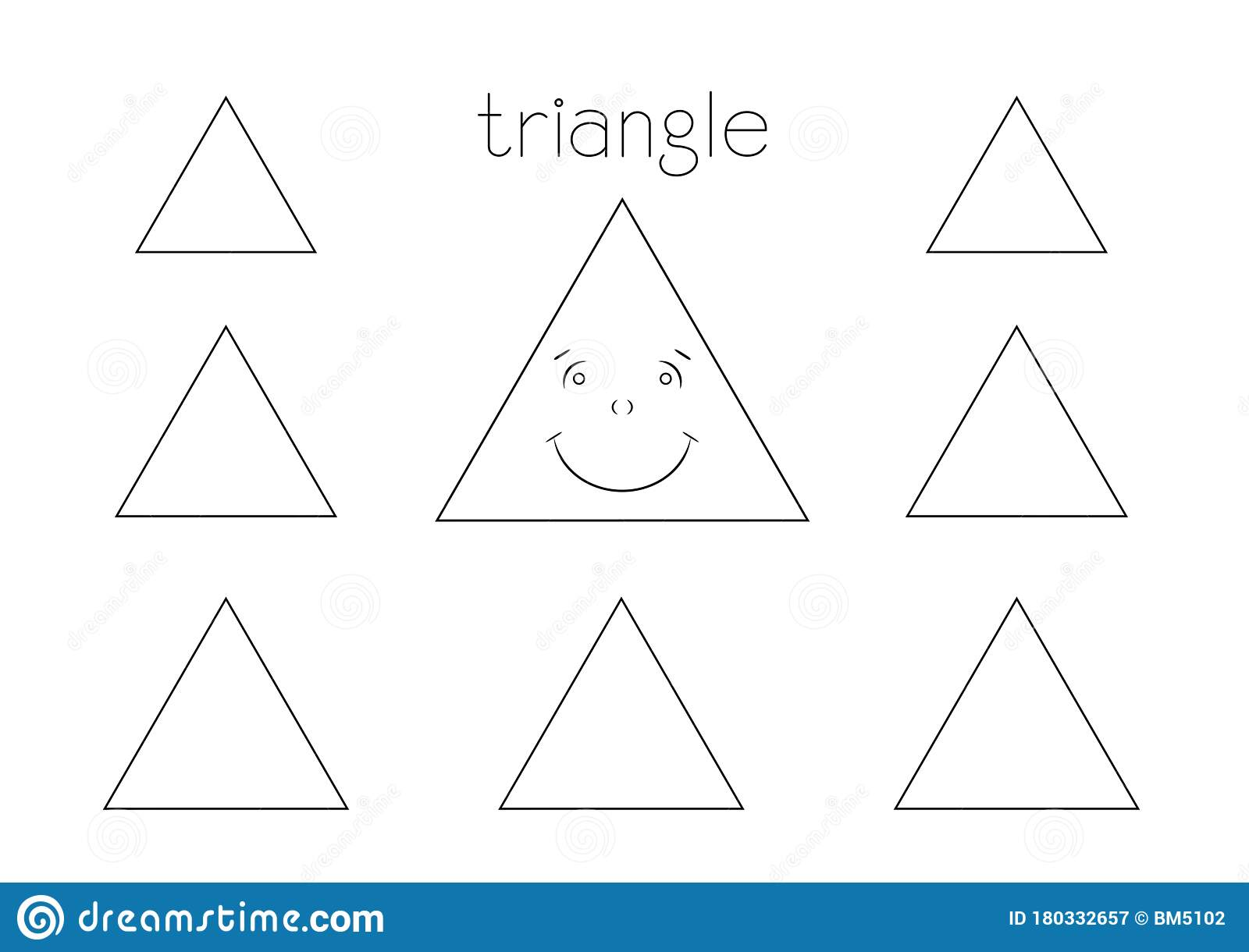 Triangle Shape Coloring Page Stock Illustration