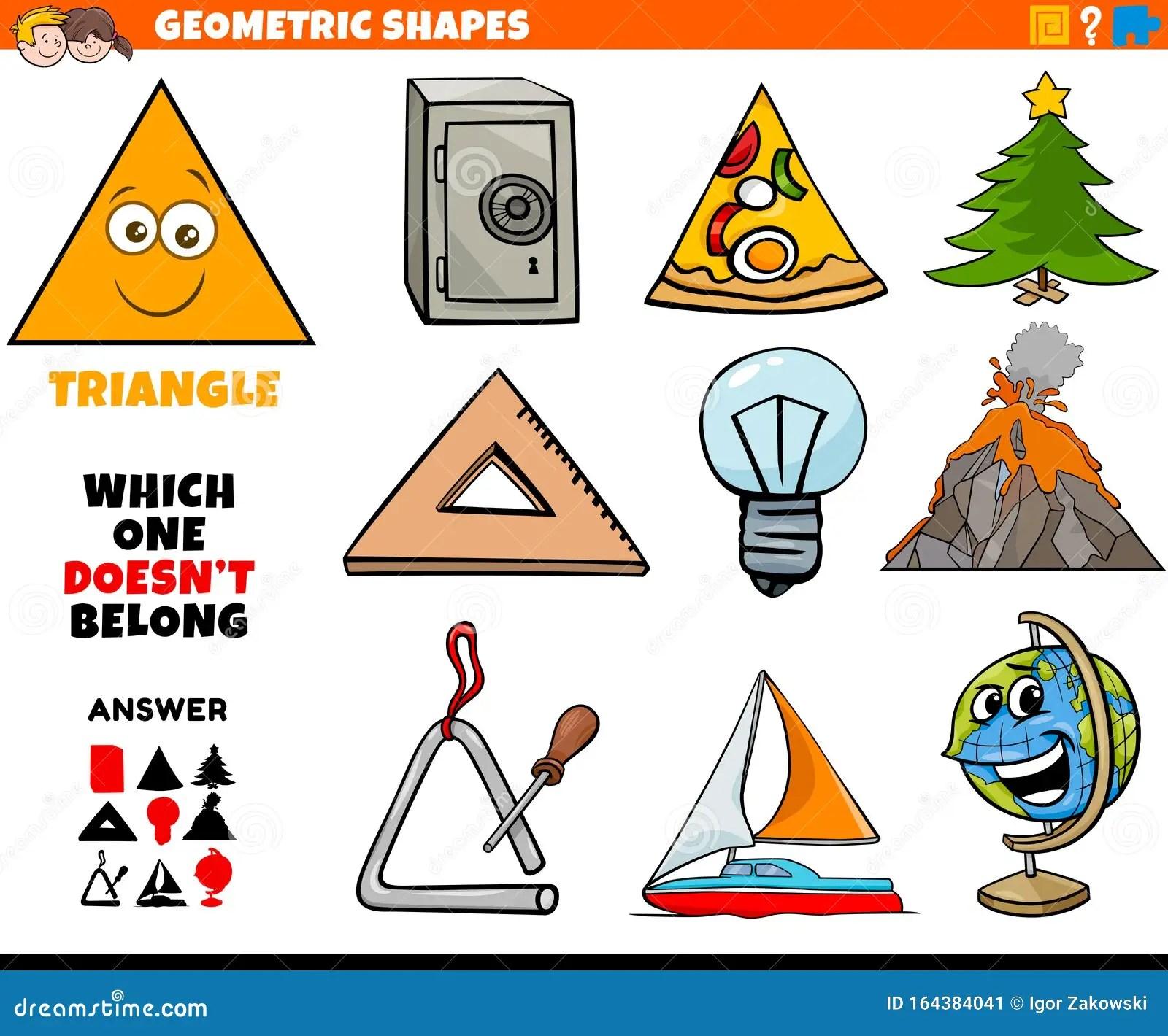 Triangle Shape Educational Task For Children Stock Vector
