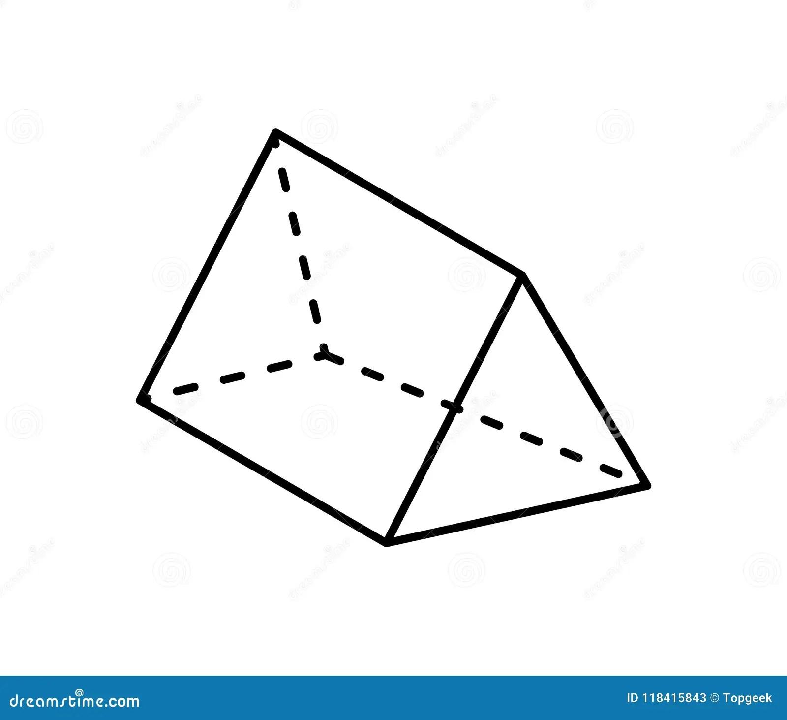 Triangular Prism Geometric Figure In Black Color Stock