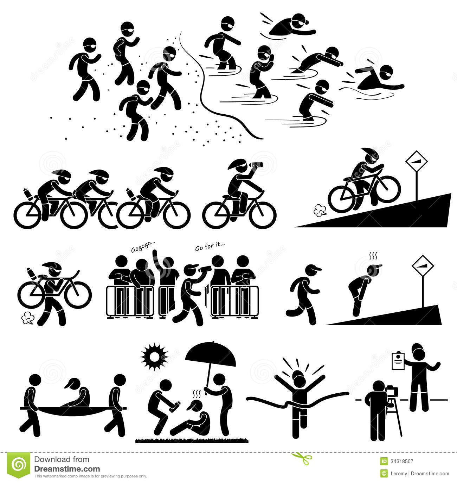 Triathlon Marathon Swimming Cycling Running Royalty Free