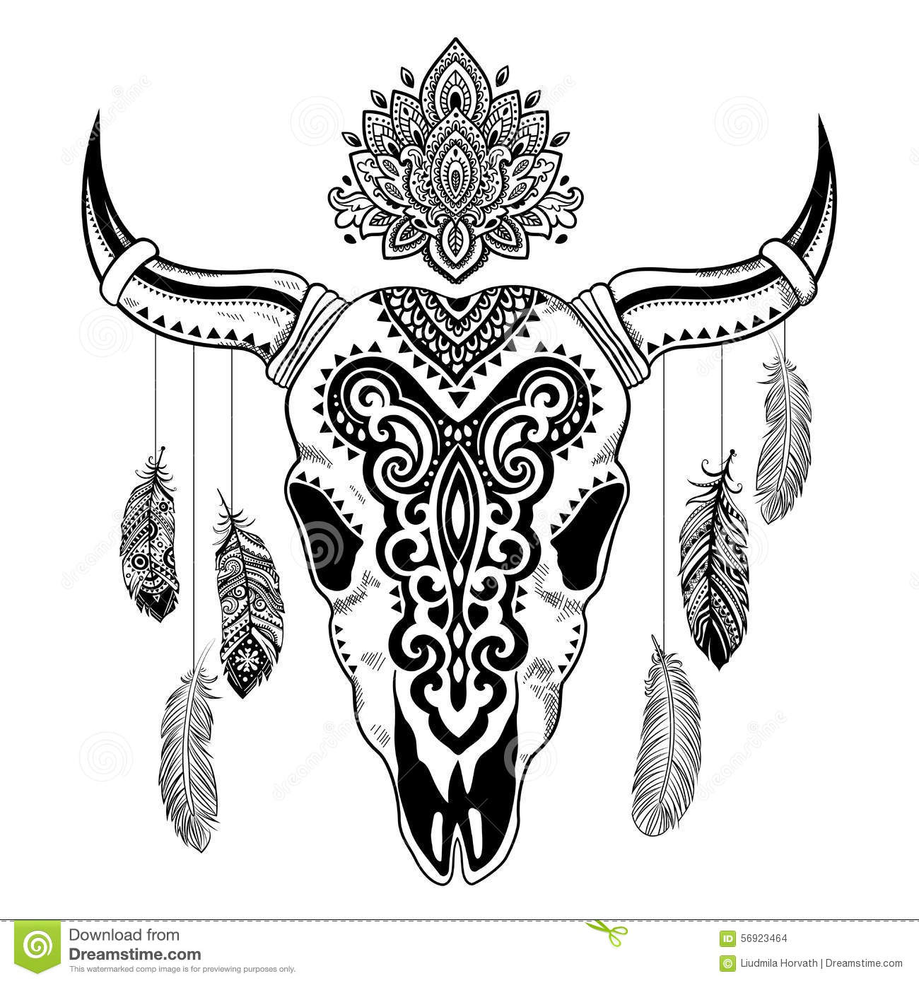 Tribal Animal Skull Illustration With Ethnic Stock