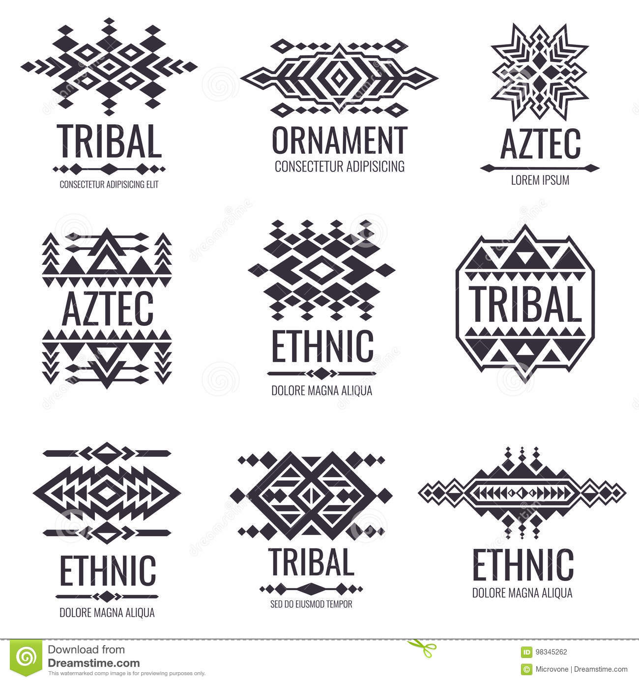 Tribal Aztec Vector Pattern Indian Graphics For Tattoo