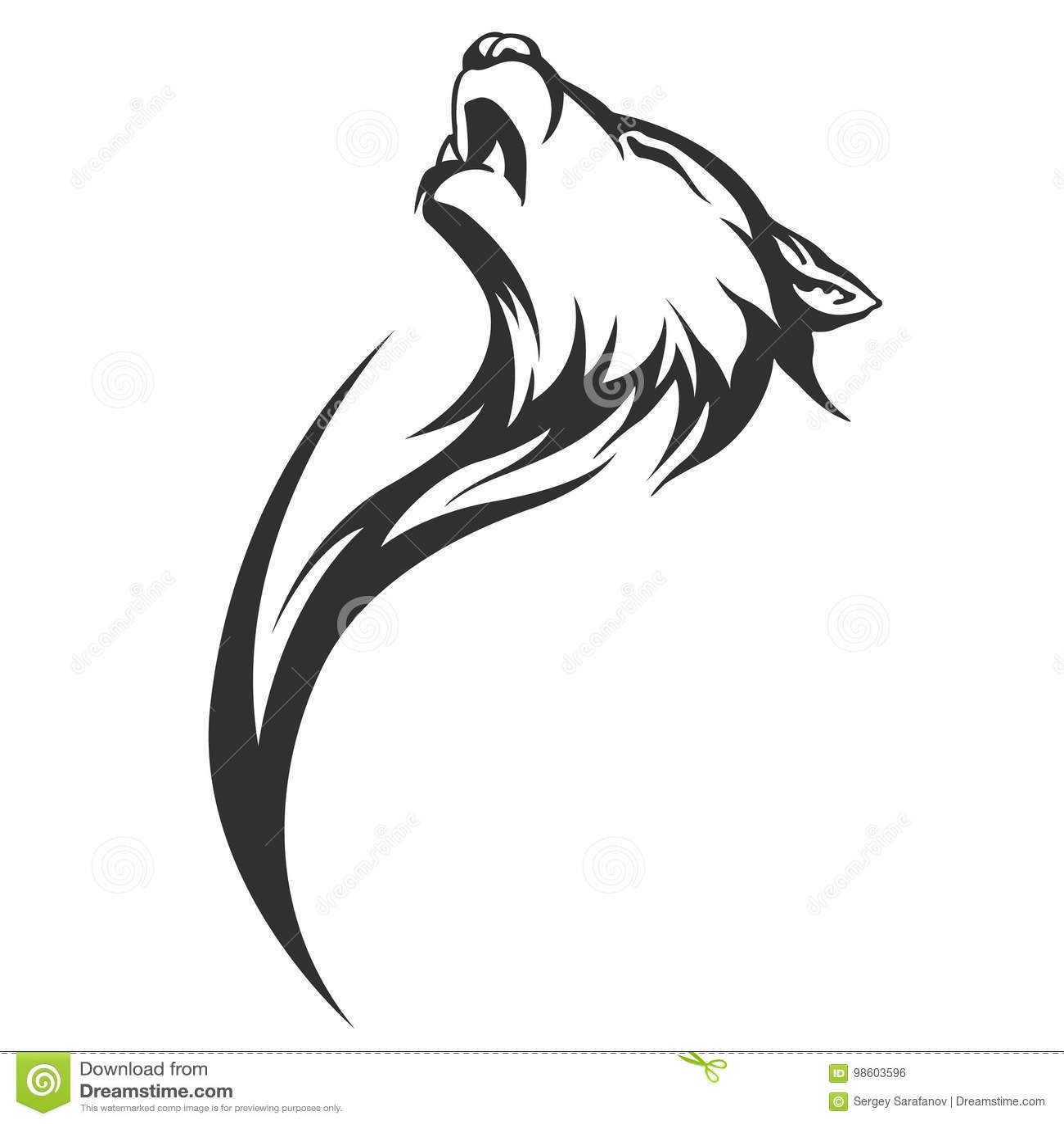 Tribal Tattoo Wolf Designs Cartoon Vector