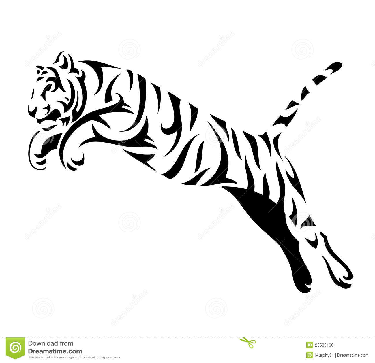 Tribal Tiger Jump Stock Vector Illustration Of Siberian