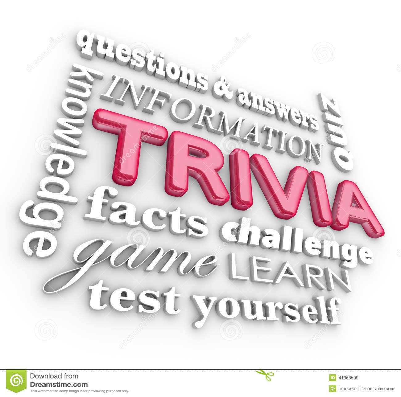 Trivia 3d Word Collage Game Questions Answers Quiz Stock Illustration