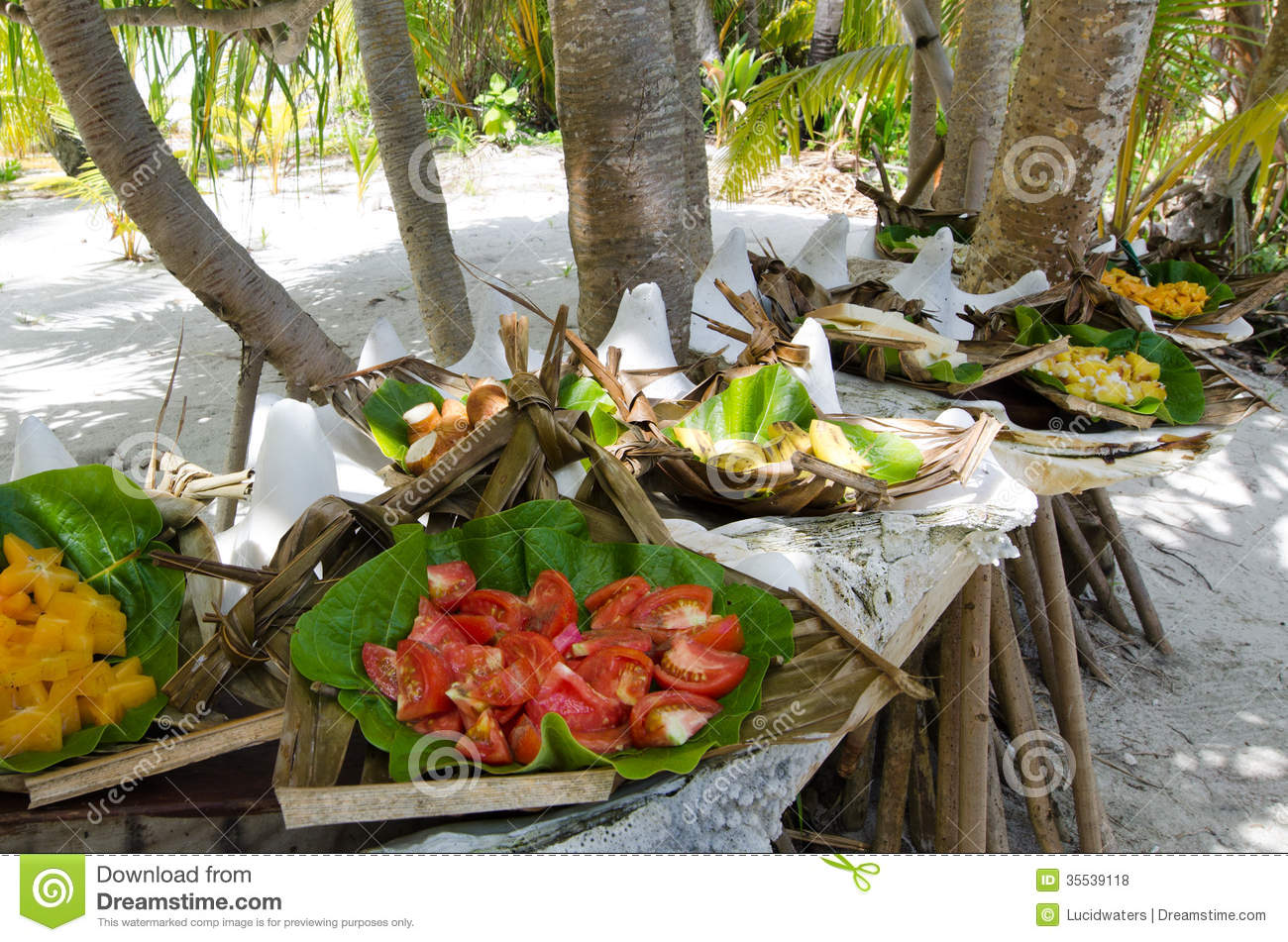 Tropical Food Served Outdoor In Aitutaki Lagoon Cook Islands Royalty Free Stock Photos Image