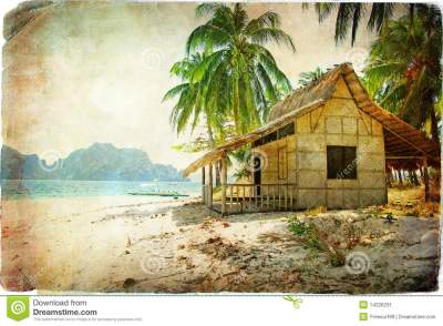 Tropical hut stock image. Image of palm, bungalow ...