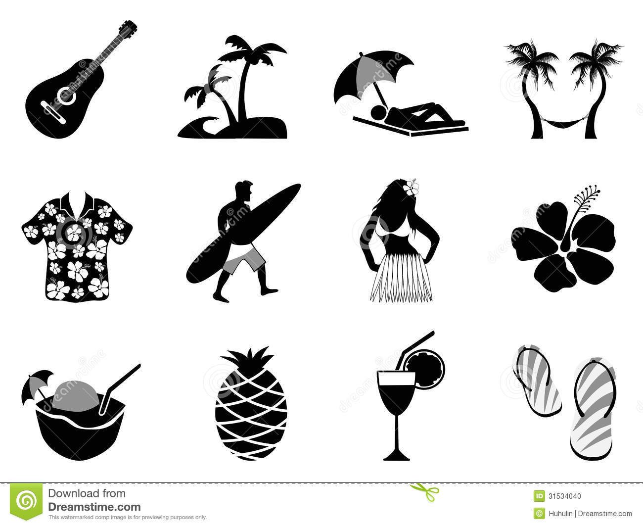 Tropical Island And Beach Vacation Icons Set Stock Vector