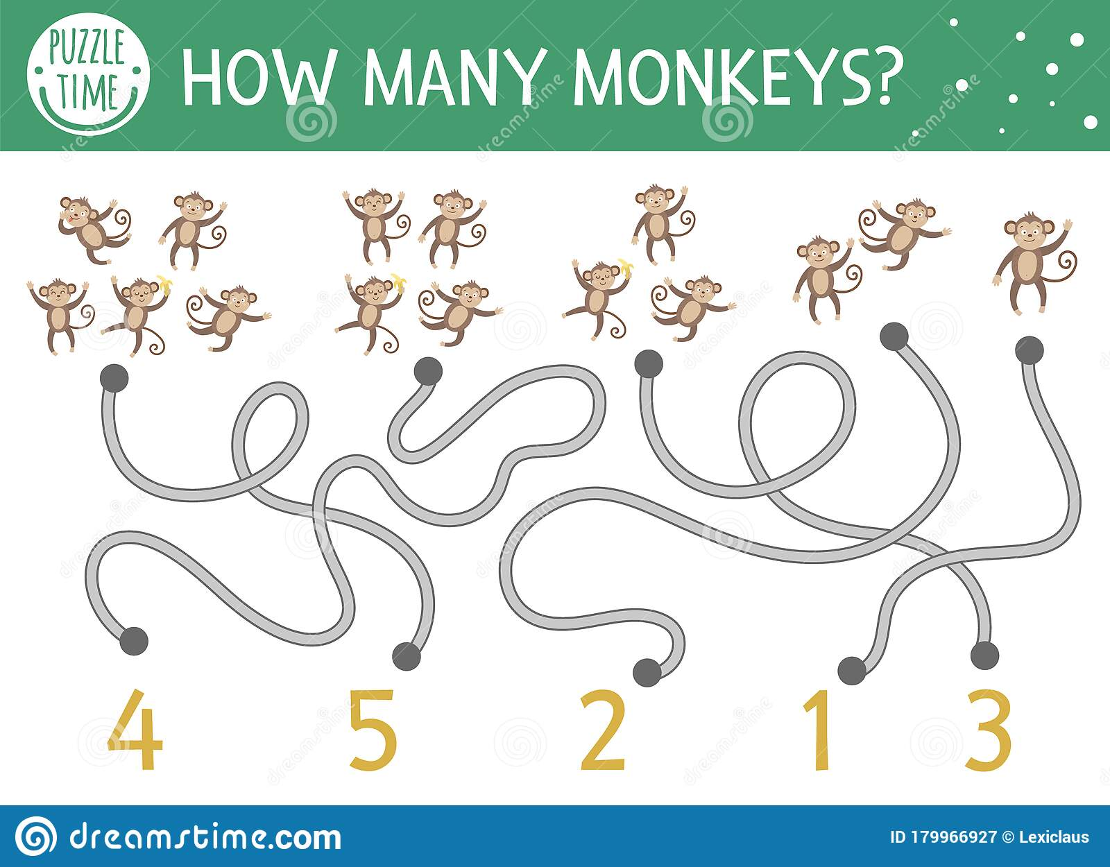 Tropical Math Maze For Children With Five Little Monkeys