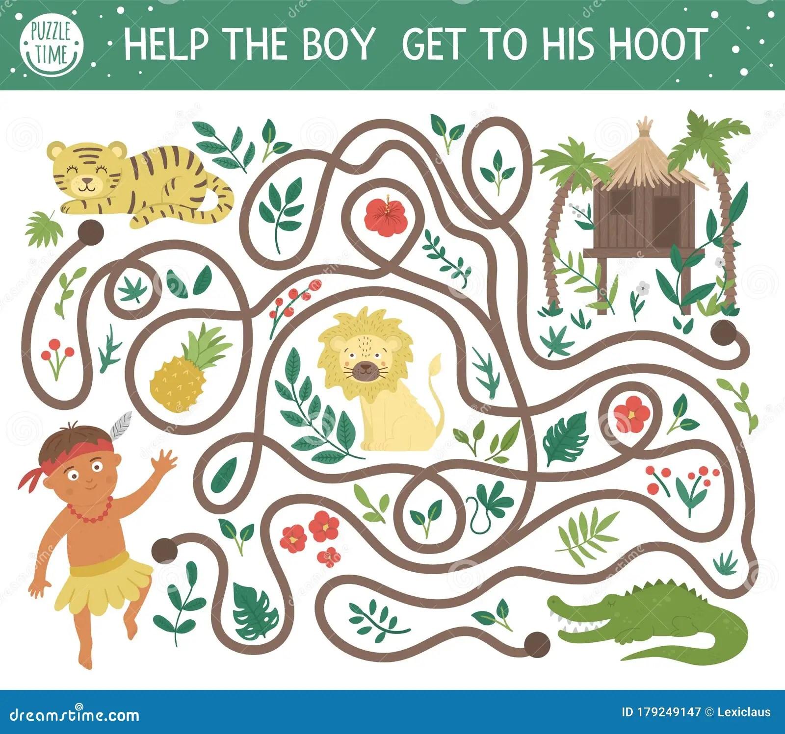 Tropical Maze For Children Preschool Exotic Activity