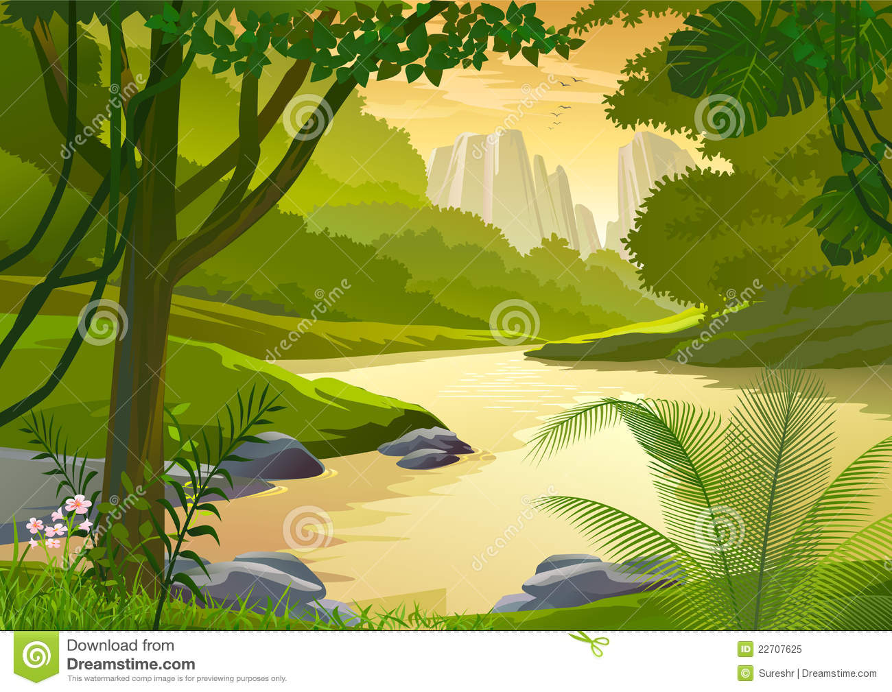 Tropical Rain Forest Trees And Fresh Water Stream Royalty