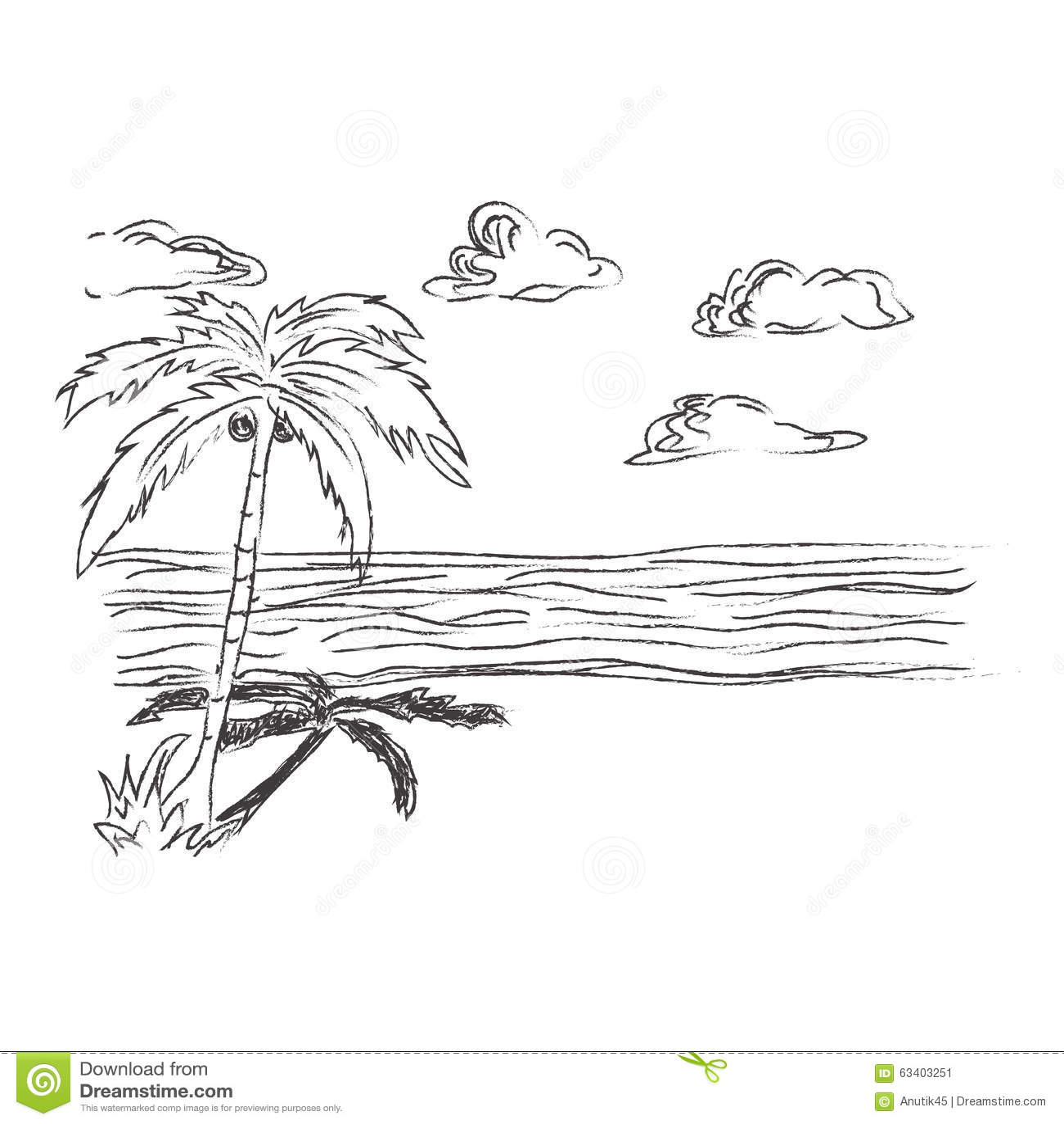 Tropisch Strand Skizze Clipart Vektor Abbildung