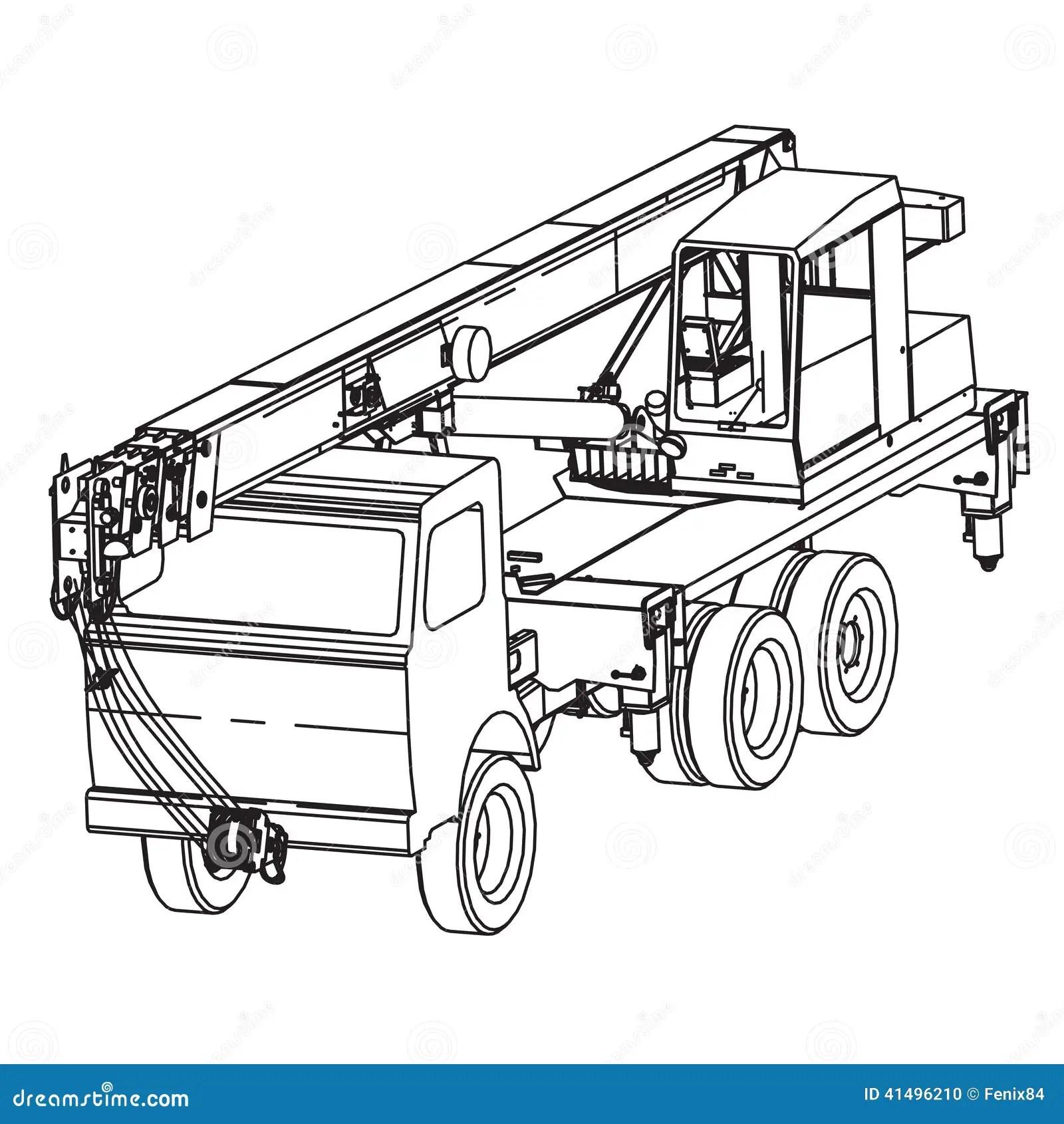 Truck Crane Stock Vector Image Of Hoisting Illustrations
