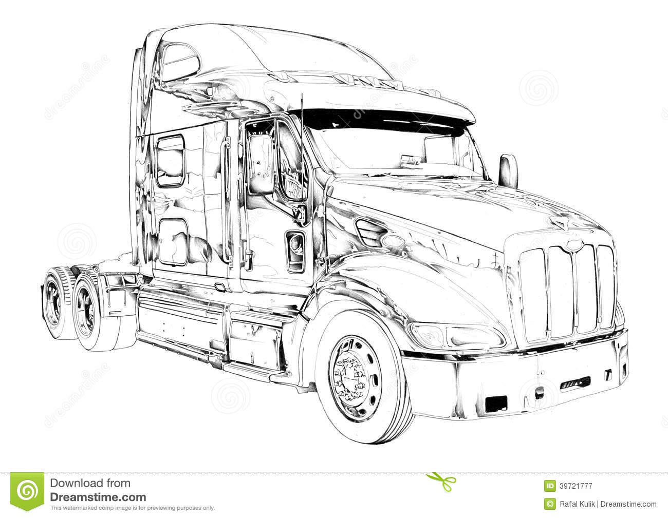 Truck Illustration Color Isolated Art Drawing Stock Illustration