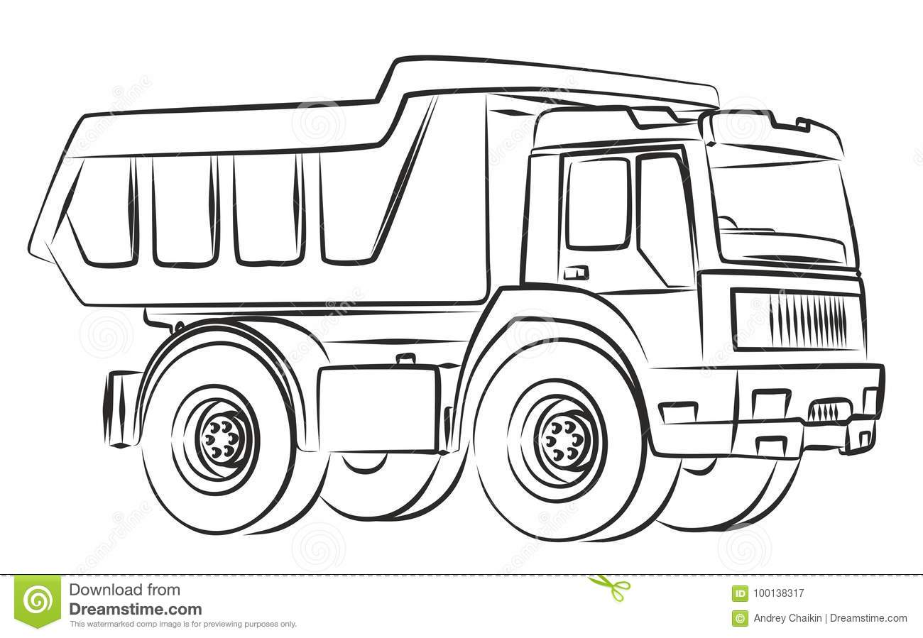 Truck Sketch Stock Vector Illustration Of Truckn Vector