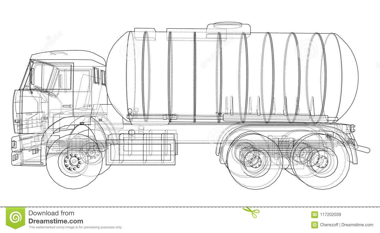 Truck With Tank Concept Vector Stock Vector