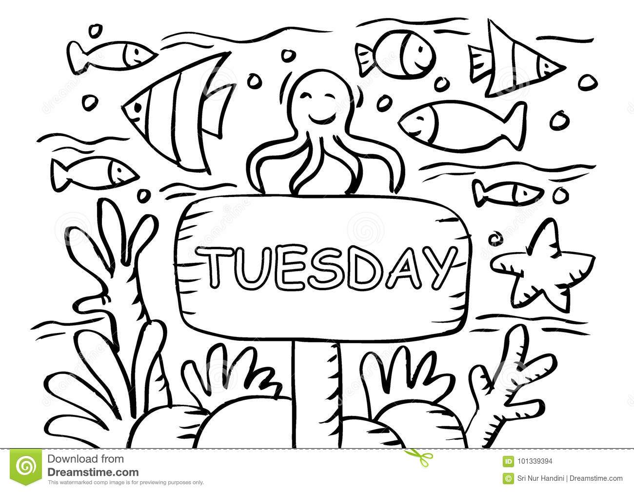 Cartoon Tuesday Coloring Page Stock Illustrations 6