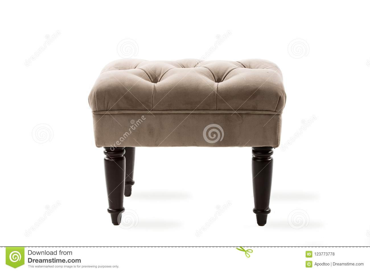 https www dreamstime com tufted taupe tan overstuffed ottoman stool tan taupe colored tufted ottoman stool isolated white buttons vintage old image123773778
