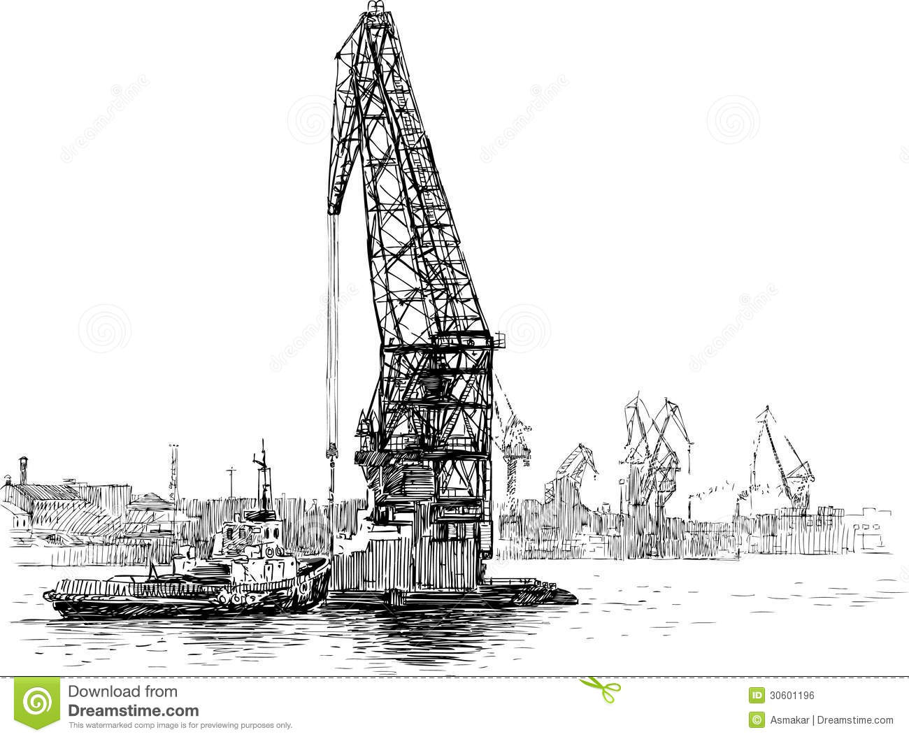 Tugboat And Crane Stock Vector Illustration Of Facilities