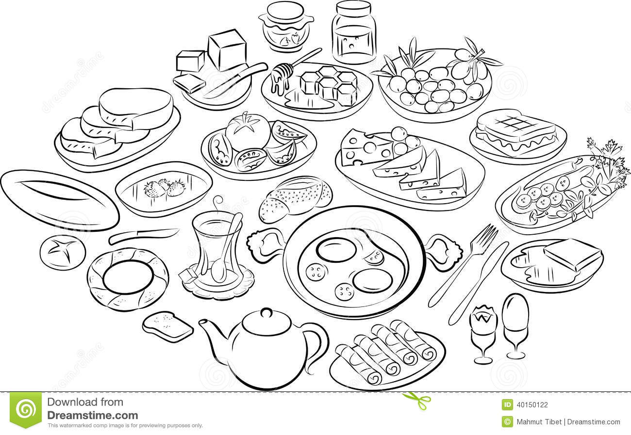 Turkish Breakfast Stock Vector Illustration Of Meal