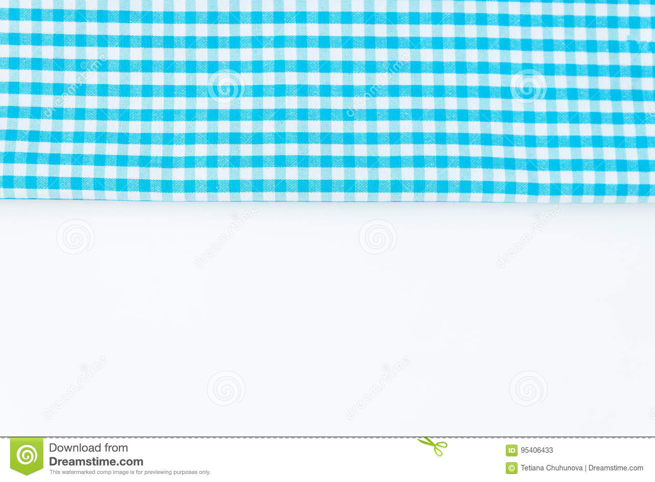 Turquoise Blue Cloth Kitchen Towel With Checkered