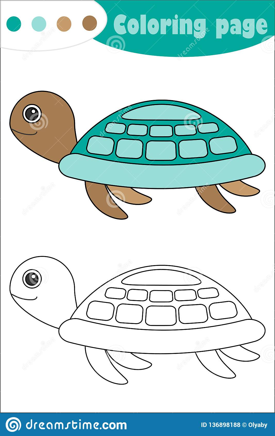 Turtle In Cartoon Style Coloring Page Education Paper