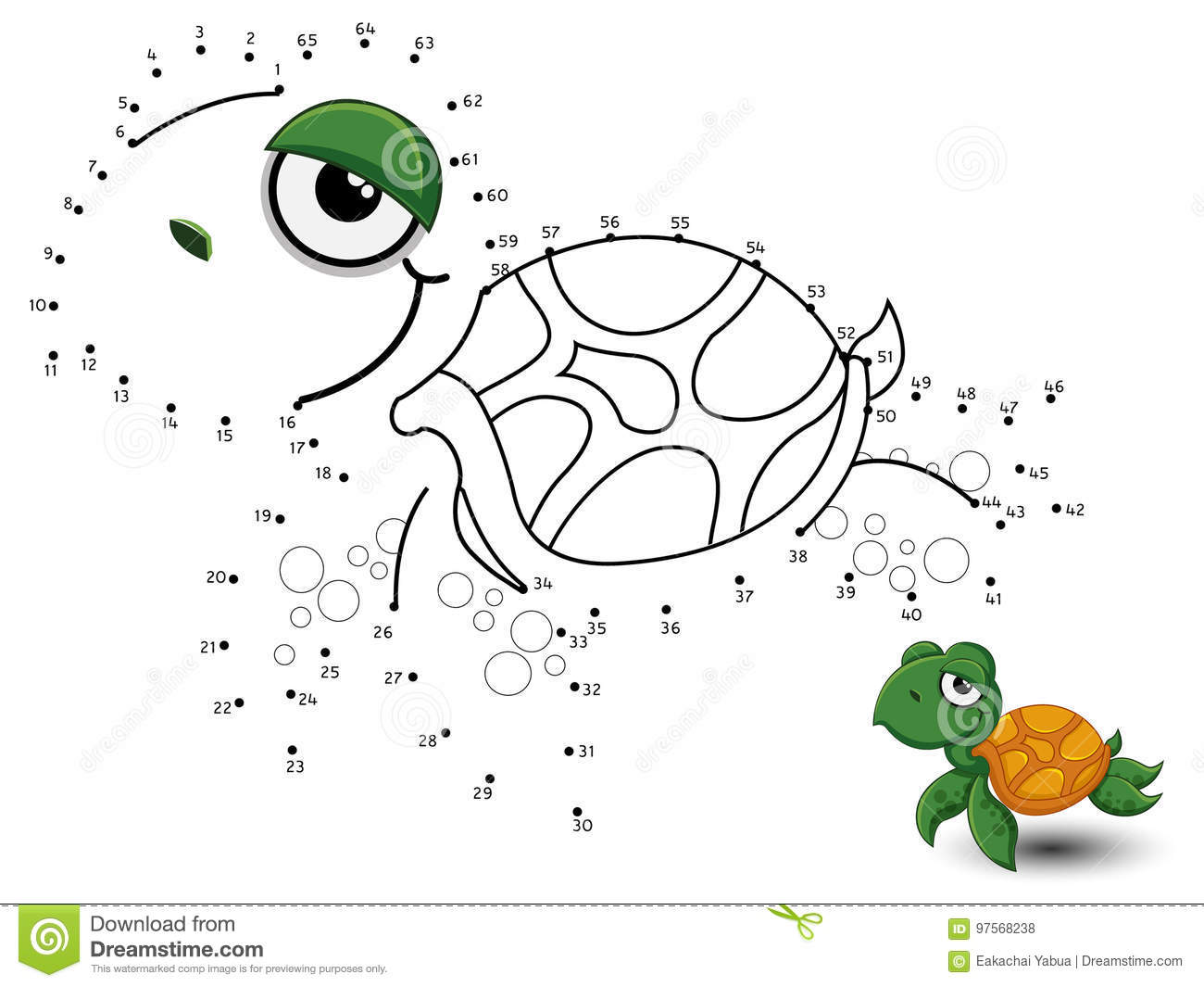 Turtle Connect The Dots And Color Stock Vector