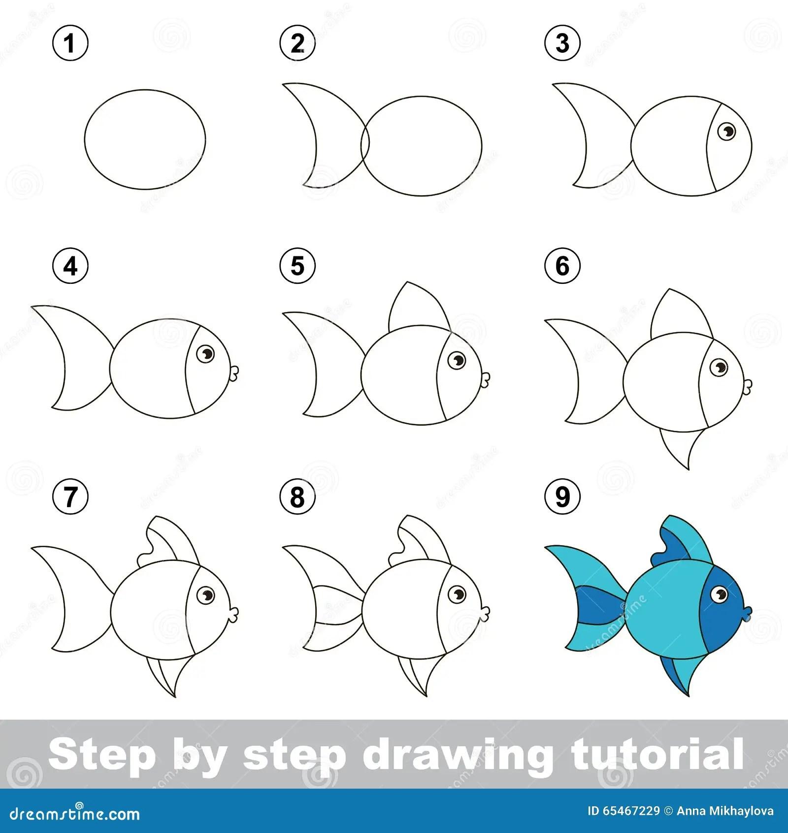 Tutorial Del Dibujo Como Dibujar Un Pescado Lindo