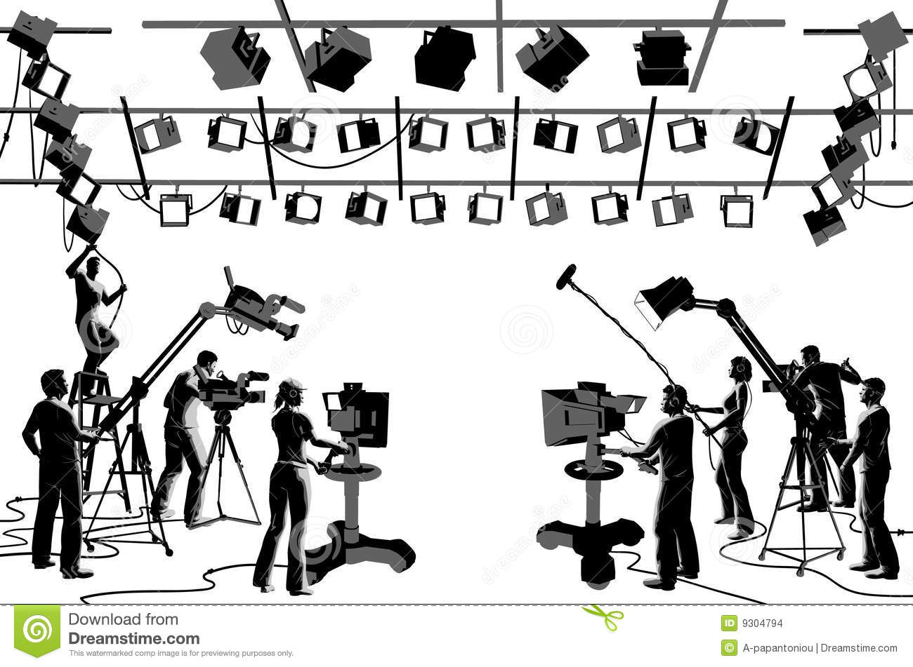 Tv Channel Studio Crew Stock Vector Illustration Of