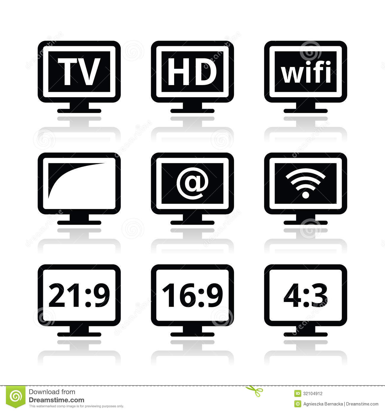 Tv Monitor Screen Icons Set Stock Photography