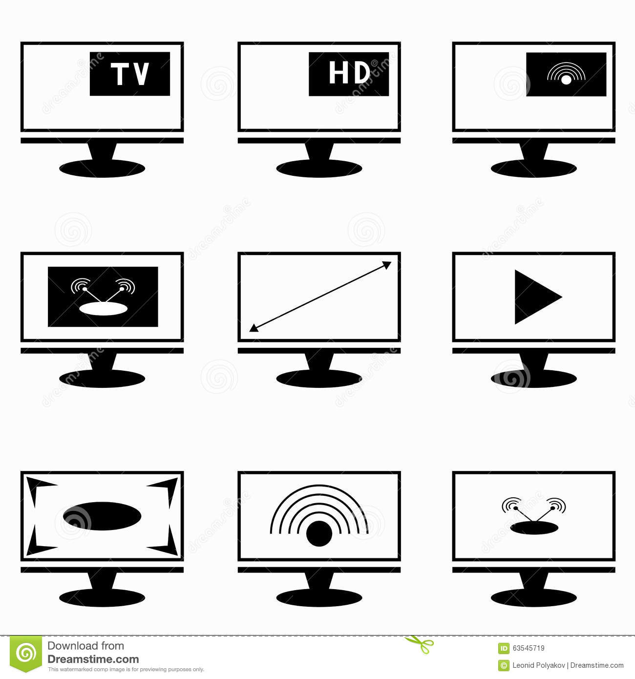 Tv Sets And Monitors Collection Of Symbols Stock Vector
