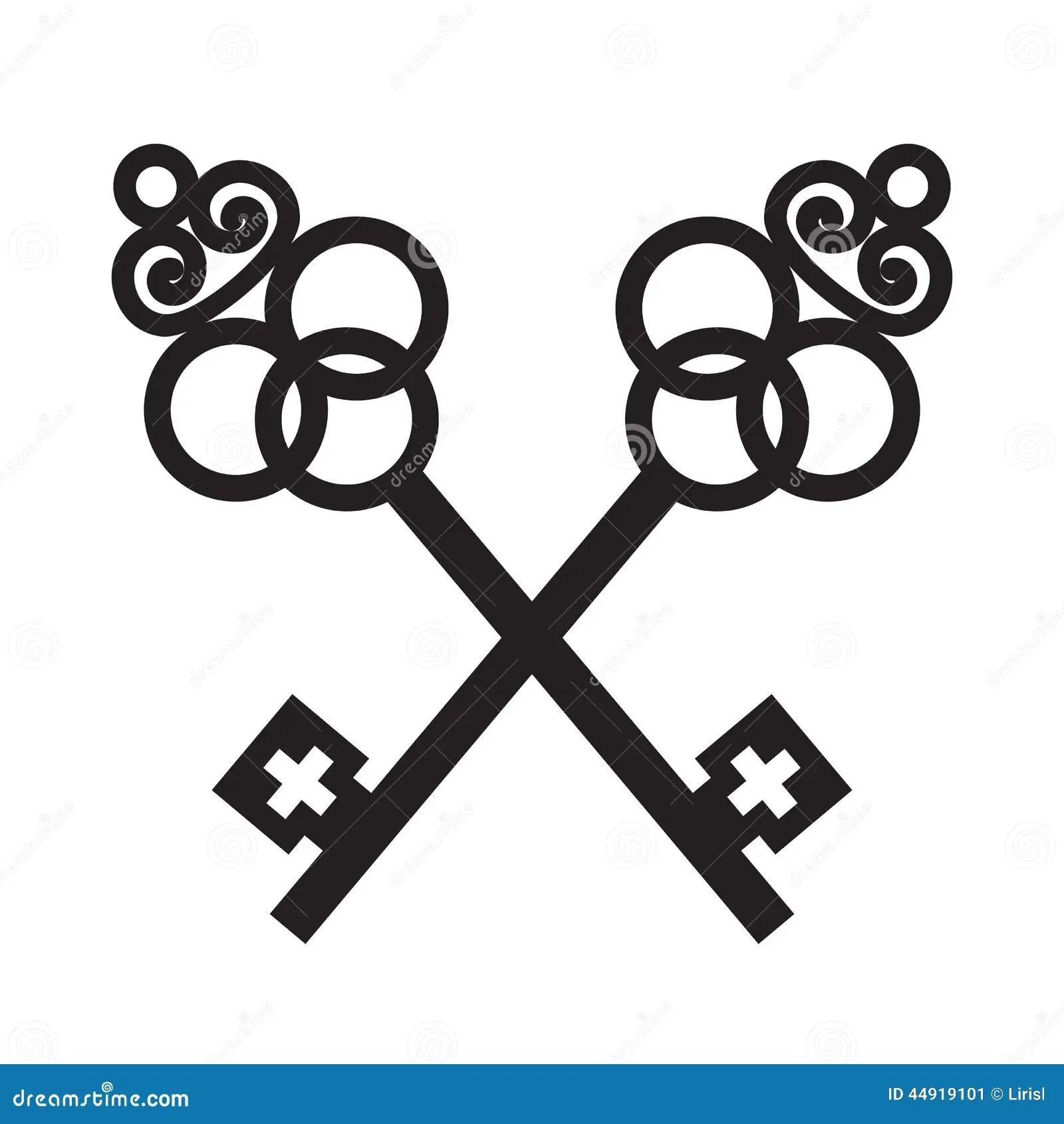 Twee Gekruiste Oude Sleutels Vector Illustratie