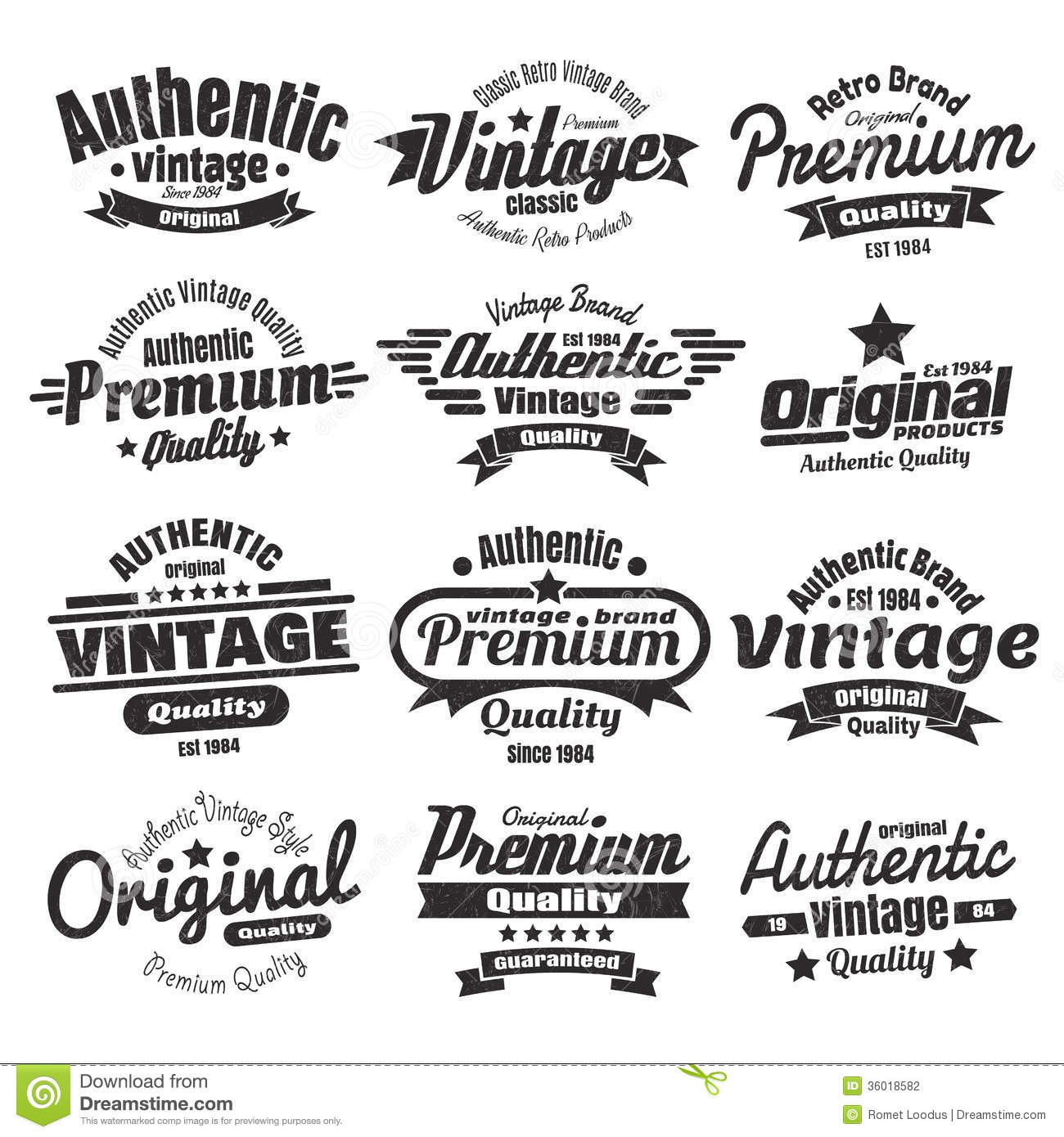 Twelve Vintage Insignias Or Labels Stock Photography