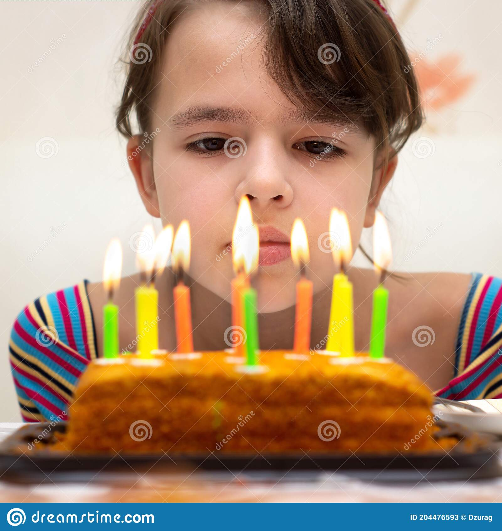 Twelve Years Old Girl Looks Thoughtfully At The Burning Candles On The Birthday Cake Stock Image Image Of Girl Birthday 204476593