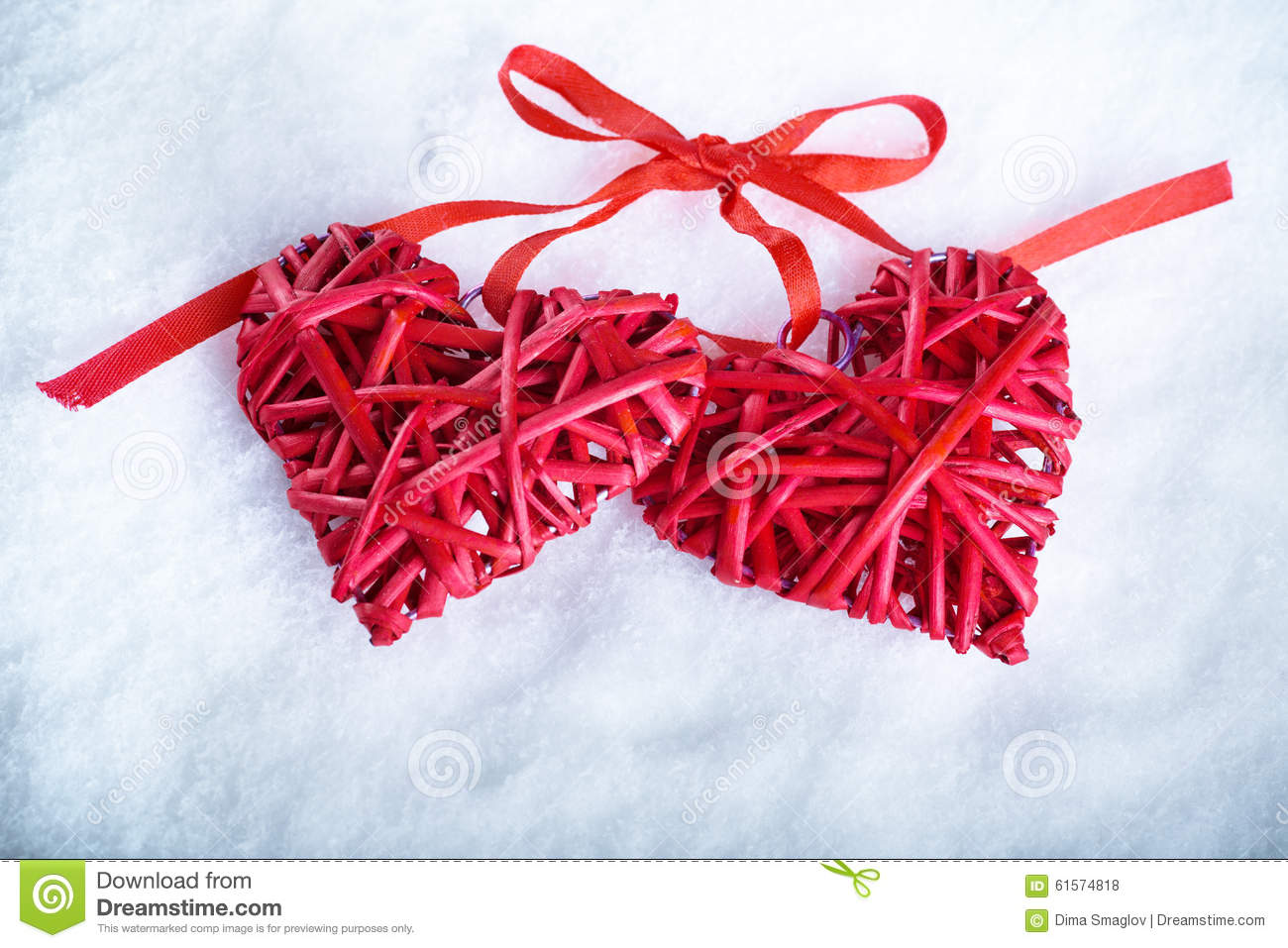 Two Beautiful Romantic Vintage Red Hearts Together On