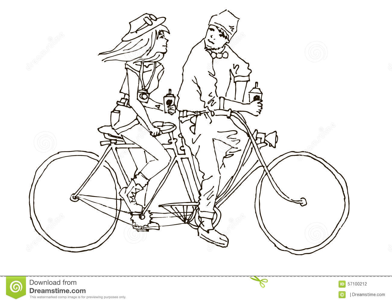 Two On The Bike And Coffee Tandem Stock Illustration